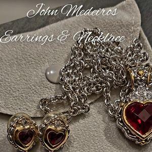 John Medeiros red heart earring & necklace set